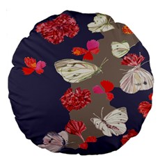 Original Butterfly Carnation Large 18  Premium Round Cushions by Mariart