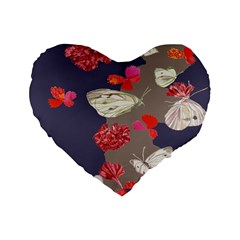 Original Butterfly Carnation Standard 16  Premium Heart Shape Cushions by Mariart