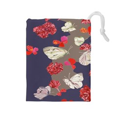 Original Butterfly Carnation Drawstring Pouches (large)