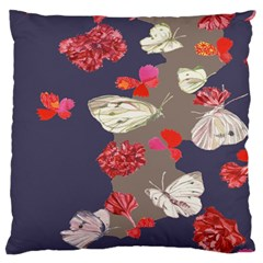 Original Butterfly Carnation Large Flano Cushion Case (one Side) by Mariart