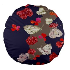 Original Butterfly Carnation Large 18  Premium Flano Round Cushions by Mariart