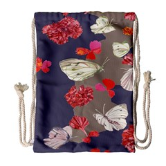 Original Butterfly Carnation Drawstring Bag (large) by Mariart