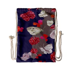 Original Butterfly Carnation Drawstring Bag (small) by Mariart