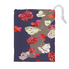 Original Butterfly Carnation Drawstring Pouches (extra Large) by Mariart