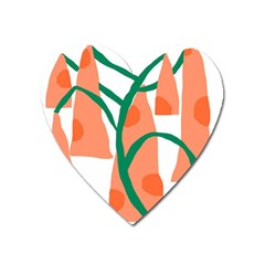 Portraits Plants Carrot Polka Dots Orange Green Heart Magnet by Mariart