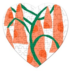 Portraits Plants Carrot Polka Dots Orange Green Jigsaw Puzzle (heart) by Mariart