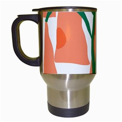 Portraits Plants Carrot Polka Dots Orange Green Travel Mugs (white) by Mariart