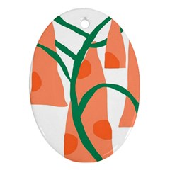 Portraits Plants Carrot Polka Dots Orange Green Oval Ornament (two Sides) by Mariart