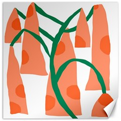 Portraits Plants Carrot Polka Dots Orange Green Canvas 12  X 12   by Mariart