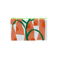 Portraits Plants Carrot Polka Dots Orange Green Cosmetic Bag (xs) by Mariart