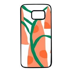 Portraits Plants Carrot Polka Dots Orange Green Samsung Galaxy S7 Black Seamless Case by Mariart