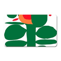 Portraits Plants Sunflower Green Orange Flower Magnet (rectangular) by Mariart