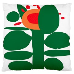 Portraits Plants Sunflower Green Orange Flower Large Flano Cushion Case (one Side) by Mariart