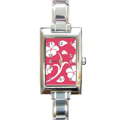 Pink Hawaiian Flower White Rectangle Italian Charm Watch by Mariart