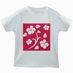 Pink Hawaiian Flower White Kids White T Shirts by Mariart