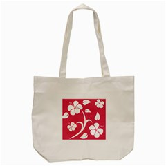 Pink Hawaiian Flower White Tote Bag (cream) by Mariart