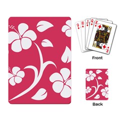 Pink Hawaiian Flower White Playing Card by Mariart