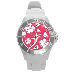 Pink Hawaiian Flower White Round Plastic Sport Watch (l) by Mariart