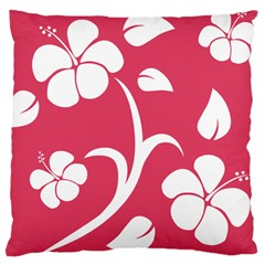 Pink Hawaiian Flower White Large Cushion Case (two Sides)