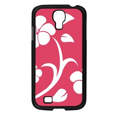 Pink Hawaiian Flower White Samsung Galaxy S4 I9500/ I9505 Case (black) by Mariart