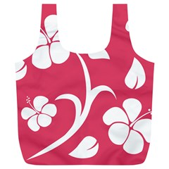 Pink Hawaiian Flower White Full Print Recycle Bags (l)  by Mariart