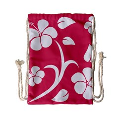 Pink Hawaiian Flower White Drawstring Bag (small) by Mariart