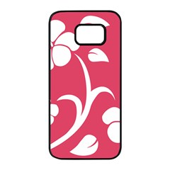 Pink Hawaiian Flower White Samsung Galaxy S7 Edge Black Seamless Case by Mariart