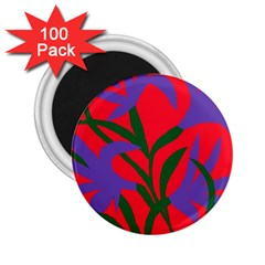 Purple Flower Red Background 2 25  Magnets (100 Pack)