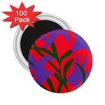 Purple Flower Red Background 2.25  Magnets (100 pack)  Front