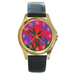 Purple Flower Red Background Round Gold Metal Watch by Mariart