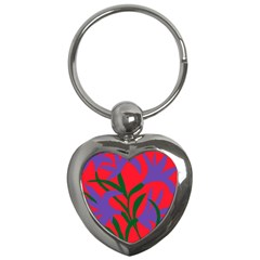 Purple Flower Red Background Key Chains (heart)  by Mariart