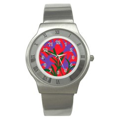 Purple Flower Red Background Stainless Steel Watch by Mariart