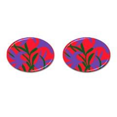 Purple Flower Red Background Cufflinks (oval) by Mariart