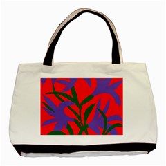 Purple Flower Red Background Basic Tote Bag by Mariart
