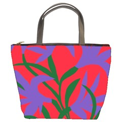 Purple Flower Red Background Bucket Bags by Mariart