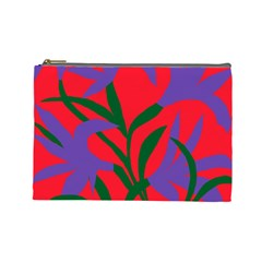 Purple Flower Red Background Cosmetic Bag (large)  by Mariart