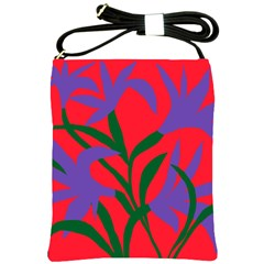 Purple Flower Red Background Shoulder Sling Bags by Mariart