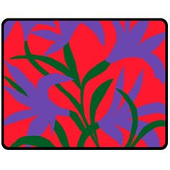Purple Flower Red Background Fleece Blanket (medium)  by Mariart