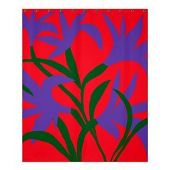Purple Flower Red Background Shower Curtain 60  X 72  (medium)  by Mariart