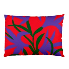 Purple Flower Red Background Pillow Case (two Sides)