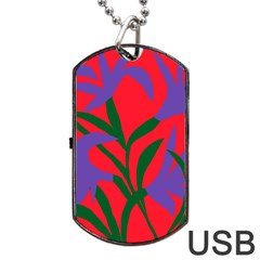 Purple Flower Red Background Dog Tag Usb Flash (one Side) by Mariart