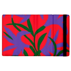 Purple Flower Red Background Apple Ipad 2 Flip Case by Mariart