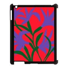 Purple Flower Red Background Apple Ipad 3/4 Case (black) by Mariart
