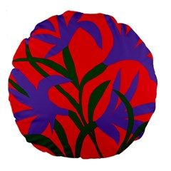 Purple Flower Red Background Large 18  Premium Round Cushions by Mariart