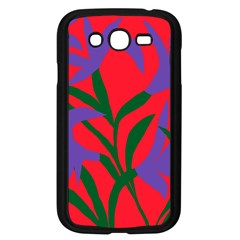 Purple Flower Red Background Samsung Galaxy Grand Duos I9082 Case (black) by Mariart