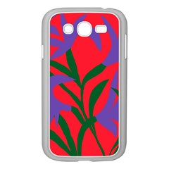 Purple Flower Red Background Samsung Galaxy Grand Duos I9082 Case (white) by Mariart