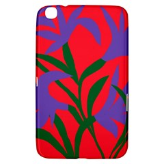 Purple Flower Red Background Samsung Galaxy Tab 3 (8 ) T3100 Hardshell Case  by Mariart