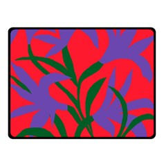 Purple Flower Red Background Double Sided Fleece Blanket (small)  by Mariart