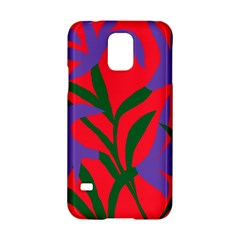Purple Flower Red Background Samsung Galaxy S5 Hardshell Case  by Mariart