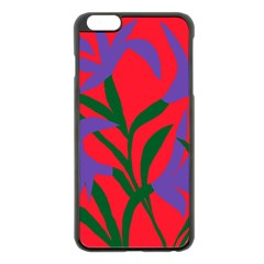 Purple Flower Red Background Apple Iphone 6 Plus/6s Plus Black Enamel Case by Mariart